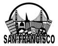 San Francisco Skyline Golden Gate Bridge Black and Royalty Free Stock Photo