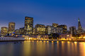 San Francisco skyline from Pier 7 after sunset Royalty Free Stock Photo