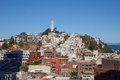 San francisco skyline telegraph hill with the coit tower prominently in view and the bay in the background and the Royalty Free Stock Photos