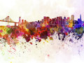 San francisco skyline in watercolor background artistic abstract Royalty Free Stock Photography