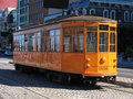 San Francisco Street Car on Cobblestone Road Royalty Free Stock Photo