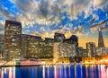 San Francisco sunset skykine from Pier 7 in California Royalty Free Stock Photo
