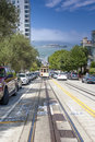 San francisco united states july authentic san franci tram ascending uphill with people on in california Royalty Free Stock Image
