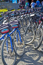 """San francisco united states july line of plenty publi public bicycles for leisure activities outdoors 'blazing saddles"""" in Stock Images"""