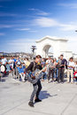 San francisco united states july positive caucasian m male multiplayer musician performing outdoors on pier on in Stock Image