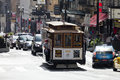 San francisco usa the cable car tram november passengers are going from station hyde by to center of Stock Image