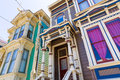 San francisco victorian houses in pacific heights california of usa Royalty Free Stock Photos