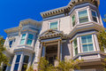 San francisco victorian houses in pacific heights california of usa Royalty Free Stock Photography