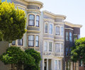 San francisco victorian houses in pacific heights california of usa Stock Photos