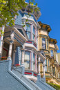 San francisco victorian houses in pacific heights california of usa Royalty Free Stock Photo