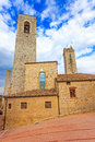 San Gimignano, square and towers. Tuscany, Italy, Europe. Royalty Free Stock Photos