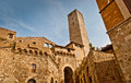 San gimignano towers of famous town in tuscany with many medieval high towers unesco world heritage site Stock Image