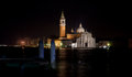 San giorgio maggiore the church at night which is located in venice across from marco Stock Photography