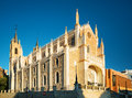 San jeronimo el real st jerome royal church in madrid spain view of the evening sun roman catholic located central blue Stock Images
