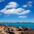 San juan de alicante view from postiguet beach in spain Royalty Free Stock Image