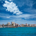 San juan de alicante view from postiguet beach in spain Stock Photography