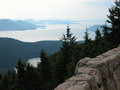 San juan islands washington s appear hazy from a viewpoint on orcas island Royalty Free Stock Photo