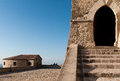 San leo fortress terrace a stairway and the army s of italy Stock Images