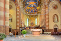 San lorenzo cathedral interior view in alba italy altar under modern chandelier as part of duomo Royalty Free Stock Image