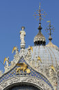 San marco detail of st mark on top of basilica venice italy Royalty Free Stock Images