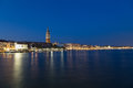 San marco district skyline in venice at night the campanile di bell tower can be seen Royalty Free Stock Images