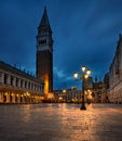 San marco at night with the lights on Royalty Free Stock Photos