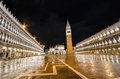 San marco square at night venice italy Stock Image