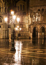 San marco square venice italy night view of Stock Photo