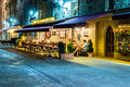 San marino nightlife people in sidewalk cafe on the street of enjoying the summer and having drinks Stock Images