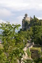 San marino tower no pathway to on mount titano in microstate in europe Royalty Free Stock Photos