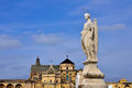 San rafael archangel statue at andalusia spain st raphael with mosque–cathedral of cordoba in background Stock Photo
