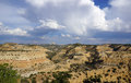 San rafael swell landscape in utah with rain falling from the clouds Stock Photo
