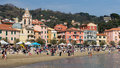 San terenzo beach near lerici liguria in italy local and international tourists enjoy some early spring sunshine march tourism is Stock Photos