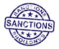 Sanctions Stamp Meaning Embargo Agreement Approval To Suspend Trade - 3d Illustration Royalty Free Stock Photo