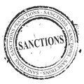 Sanctions Stamp Shows Embargo Agreement Approval To Suspend Trade - 3d Illustration Royalty Free Stock Photo