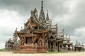 Sanctuary of truth different aged wood at in pattaya thailand Royalty Free Stock Photo