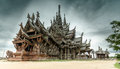 Sanctuary of truth different aged wood at in pattaya thailand Royalty Free Stock Images