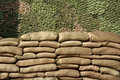 Sand bags wall Stock Photography