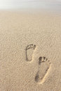 Sand beach with footprints portrait of Royalty Free Stock Photo