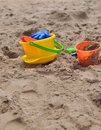 Sand and buckets plastic beach toys for children to play with Royalty Free Stock Image