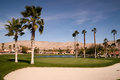 Sand bunker golf course palm springs vertical desert mountains a beautiful hole on the hillside in the Royalty Free Stock Images