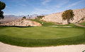 Sand bunker golf course palm springs vertical desert mountains a beautiful hole on the hillside in the Royalty Free Stock Photos