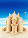 Sand castle with a beach background room for text or copy space Stock Images