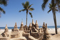 Large sandcastle on beach Royalty Free Stock Photo