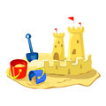 Sand castle beach toys isolated vector illustration Royalty Free Stock Image