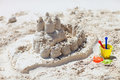 Sand castle beach toys tropical white sand beach Stock Images
