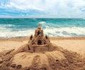 Sand castle on beach Royalty Free Stock Photo