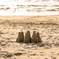 Sand castle leisure activity at the beach Royalty Free Stock Image