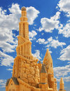 Sand castle over blue sky beautiful Stock Photos