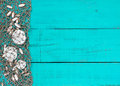 Sand dollars and shells in fish netting on teal blue wood beach sign Royalty Free Stock Photo